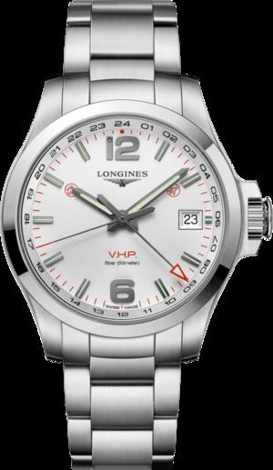Herrenuhr Longines Conquest VHP GMT 41mm mit weißem Zifferblatt und Edelstahlarmband