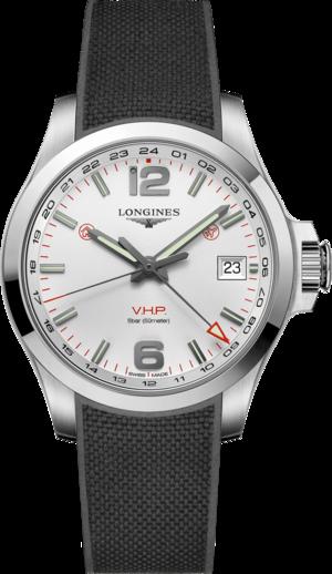 Herrenuhr Longines Conquest VHP GMT 41mm mit weißem Zifferblatt und Kautschukarmband