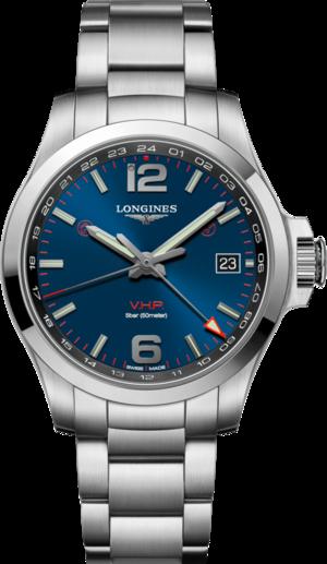 Herrenuhr Longines Conquest VHP GMT 41mm mit blauem Zifferblatt und Edelstahlarmband