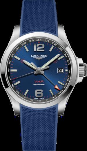 Herrenuhr Longines Conquest VHP GMT 41mm mit blauem Zifferblatt und Kautschukarmband