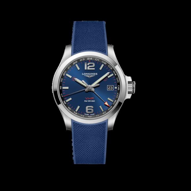 Herrenuhr Longines Conquest VHP GMT 41mm mit blauem Zifferblatt und Kautschukarmband bei Brogle