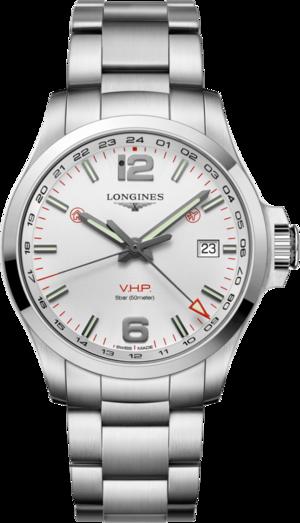 Herrenuhr Longines Conquest VHP GMT 43mm mit weißem Zifferblatt und Edelstahlarmband