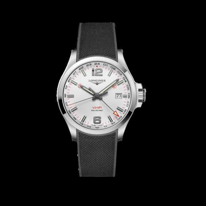 Herrenuhr Longines Conquest VHP GMT 43mm mit weißem Zifferblatt und Kautschukarmband bei Brogle