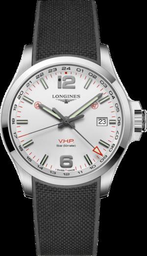 Herrenuhr Longines Conquest VHP GMT 43mm mit weißem Zifferblatt und Kautschukarmband