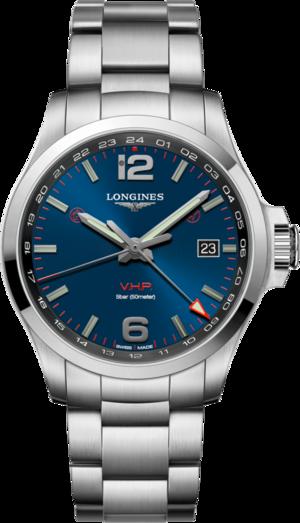 Herrenuhr Longines Conquest VHP GMT 43mm mit blauem Zifferblatt und Edelstahlarmband