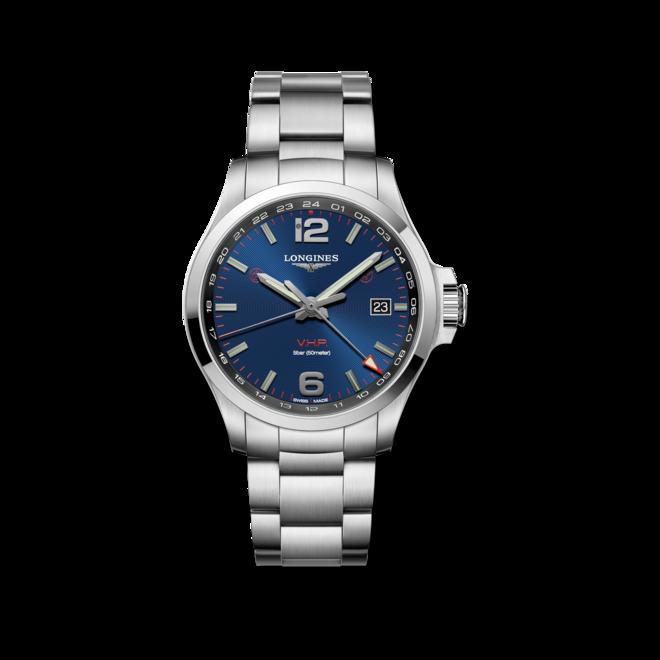 Herrenuhr Longines Conquest VHP GMT 43mm mit blauem Zifferblatt und Edelstahlarmband bei Brogle