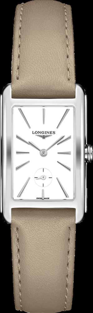 Damenuhr Longines DolceVita Quarz 23,3 x 37mm mit weißem Zifferblatt und Kalbsleder-Armband