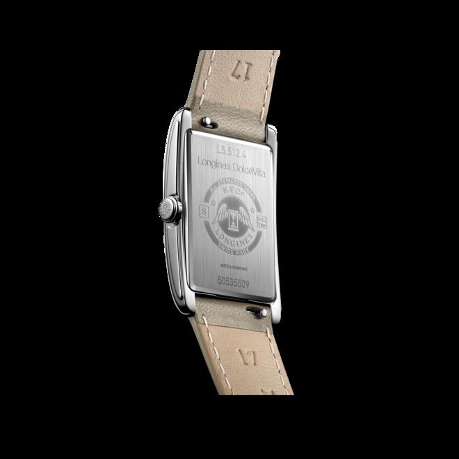 Damenuhr Longines DolceVita Quarz 23,3 x 37mm mit weißem Zifferblatt und Kalbsleder-Armband bei Brogle