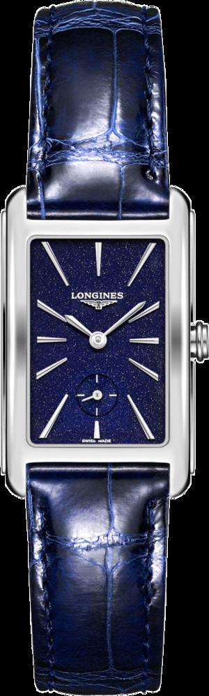 Damenuhr Longines DolceVita Quarz L mit blauem Zifferblatt und Alligatorenleder-Armband