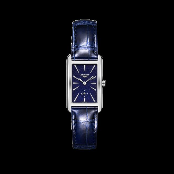 Damenuhr Longines DolceVita Quarz L mit blauem Zifferblatt und Alligatorenleder-Armband bei Brogle