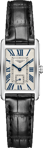 Damenuhr Longines DolceVita Quarz M mit cremefarbenem Zifferblatt und Alligatorenleder-Armband