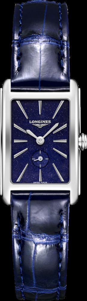 Damenuhr Longines DolceVita Quarz M mit blauem Zifferblatt und Alligatorenleder-Armband