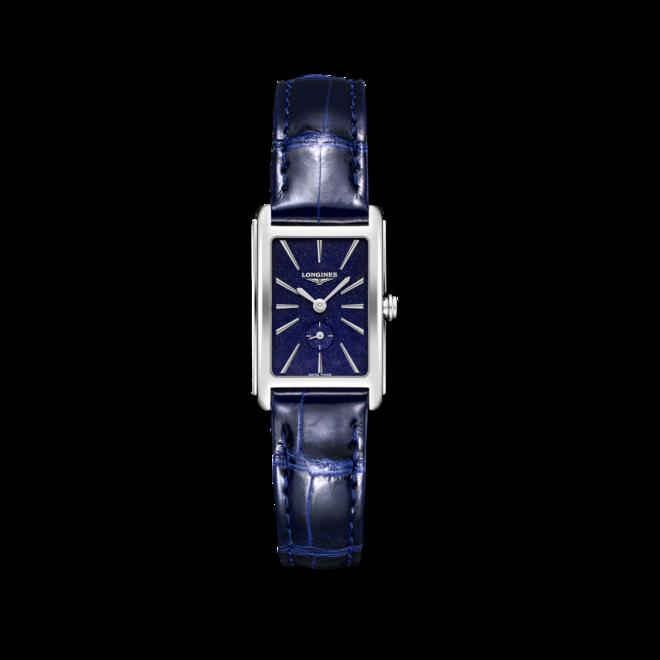 Damenuhr Longines DolceVita Quarz M mit blauem Zifferblatt und Alligatorenleder-Armband bei Brogle
