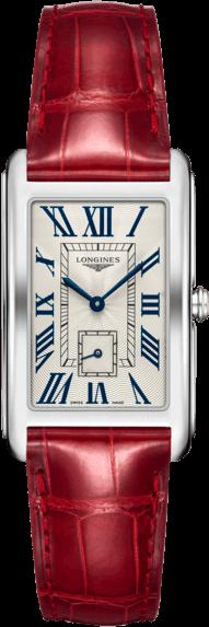 Armbanduhr Longines DolceVita Quarz XL mit silberfarbenem Zifferblatt und Alligatorenleder-Armband