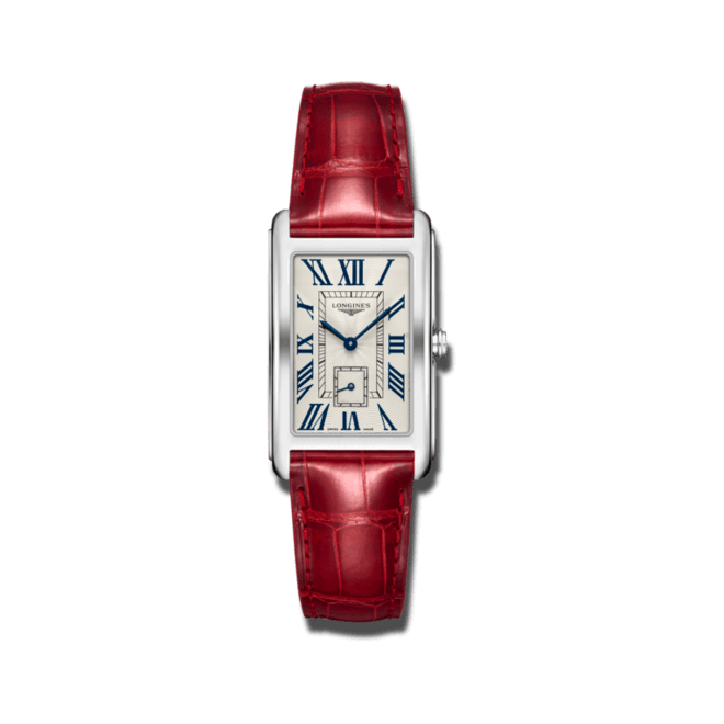 Armbanduhr Longines DolceVita Quarz XL mit silberfarbenem Zifferblatt und Alligatorenleder-Armband bei Brogle