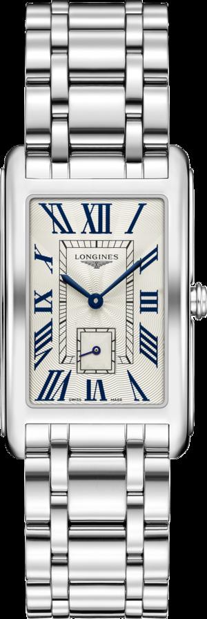 Armbanduhr Longines DolceVita Quarz XL mit silberfarbenem Zifferblatt und Edelstahlarmband