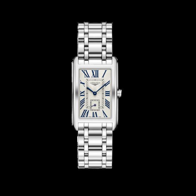 Armbanduhr Longines DolceVita Quarz XL mit silberfarbenem Zifferblatt und Edelstahlarmband bei Brogle