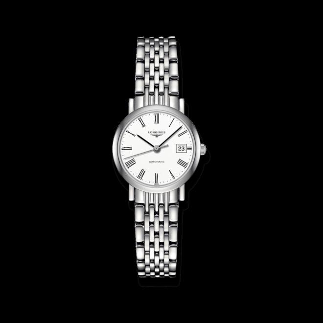 Damenuhr Longines Elegant Automatik 25,5mm mit weißem Zifferblatt und Edelstahlarmband