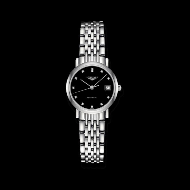 Damenuhr Longines Elegant Automatik 25,5mm mit Diamanten, schwarzem Zifferblatt und Edelstahlarmband bei Brogle