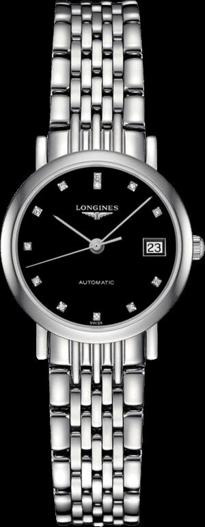 Damenuhr Longines Elegant Automatik 25,5mm mit Diamanten, schwarzem Zifferblatt und Edelstahlarmband