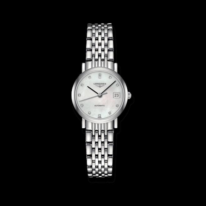 Damenuhr Longines Elegant Automatik 25,5mm mit Diamanten, perlmuttfarbenem Zifferblatt und Edelstahlarmband