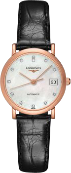 Damenuhr Longines Elegant Automatik 27,2mm mit Diamanten, perlmuttfarbenem Zifferblatt und Alligatorenleder-Armband