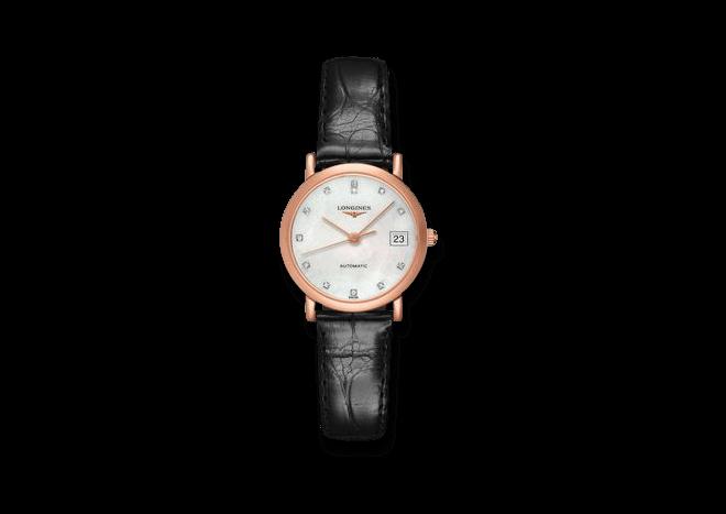 Damenuhr Longines Elegant Automatik 27,2mm mit Diamanten, perlmuttfarbenem Zifferblatt und Alligatorenleder-Armband bei Brogle