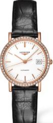 Damenuhr Longines Elegant Automatik 27,2mm mit Diamanten, weißem Zifferblatt und Kalbsleder-Armband