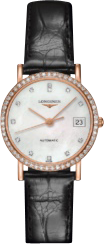 Damenuhr Longines Elegant Automatik 27,2mm mit Diamanten, perlmuttfarbenem Zifferblatt und Krokodilleder-Armband