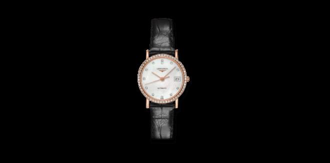 Damenuhr Longines Elegant Automatik 27,2mm mit Diamanten, perlmuttfarbenem Zifferblatt und Krokodilleder-Armband bei Brogle