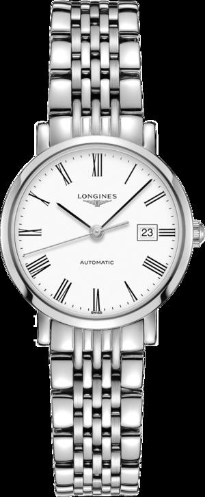 Damenuhr Longines Elegant Automatik 29mm mit weißem Zifferblatt und Edelstahlarmband
