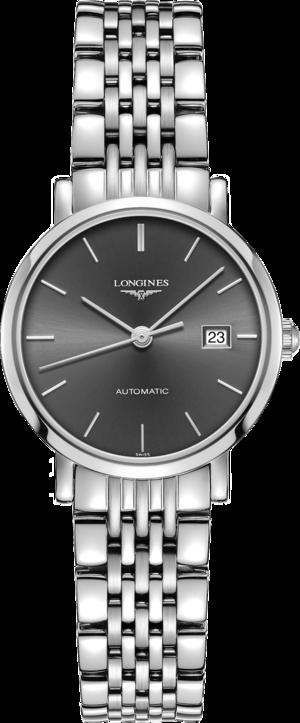 Damenuhr Longines Elegant Automatik 29mm mit grauem Zifferblatt und Edelstahlarmband