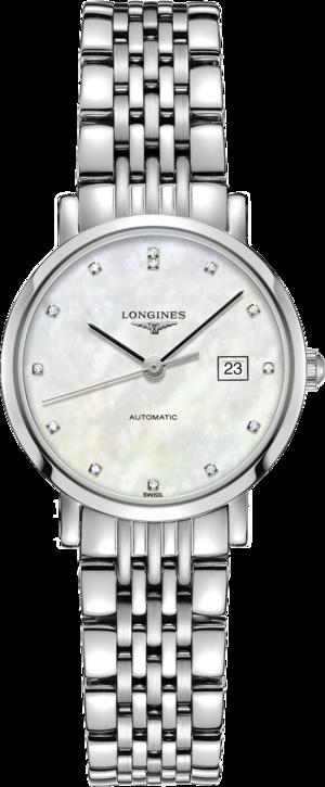 Damenuhr Longines Elegant Automatik 29mm mit Diamanten, perlmuttfarbenem Zifferblatt und Edelstahlarmband