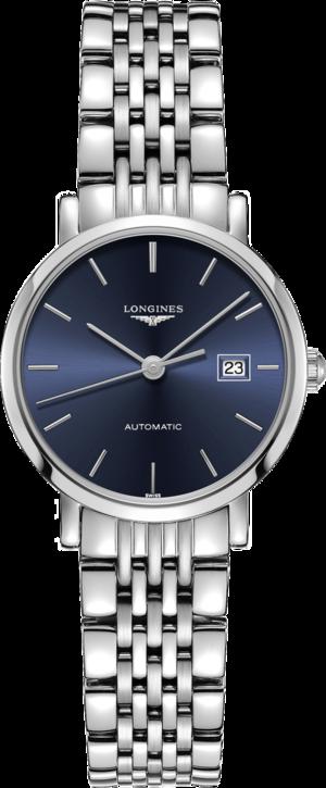 Damenuhr Longines Elegant Automatik 29mm mit blauem Zifferblatt und Edelstahlarmband