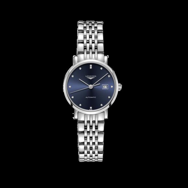 Damenuhr Longines Elegant Automatik 29mm mit Diamanten, schwarzem Zifferblatt und Edelstahlarmband bei Brogle