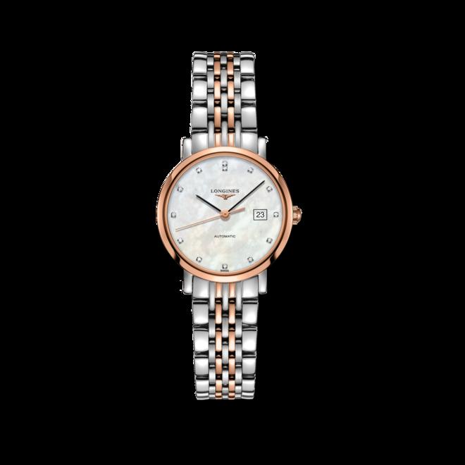 Damenuhr Longines Elegant Automatik 29mm mit Diamanten, perlmuttfarbenem Zifferblatt und Edelstahlarmband bei Brogle