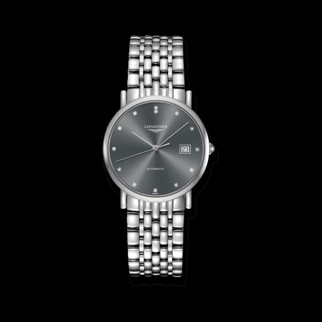 Herrenuhr Longines Elegant Automatik 34,5mm mit Diamanten, silberfarbenem Zifferblatt und Edelstahlarmband