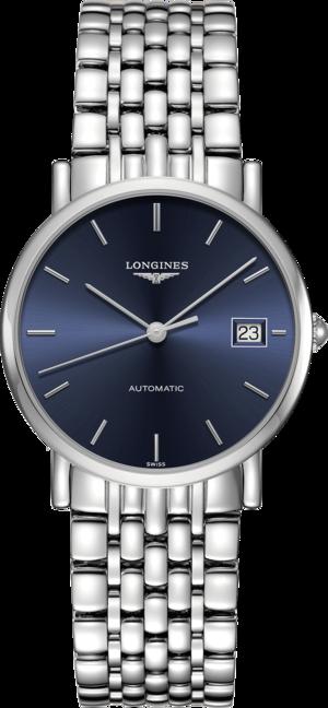 Damenuhr Longines Elegant Automatik 34,5mm mit blauem Zifferblatt und Edelstahlarmband