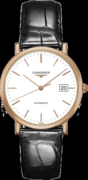 Armbanduhr Longines Elegant Automatik 37mm mit weißem Zifferblatt und Alligatorenleder-Armband