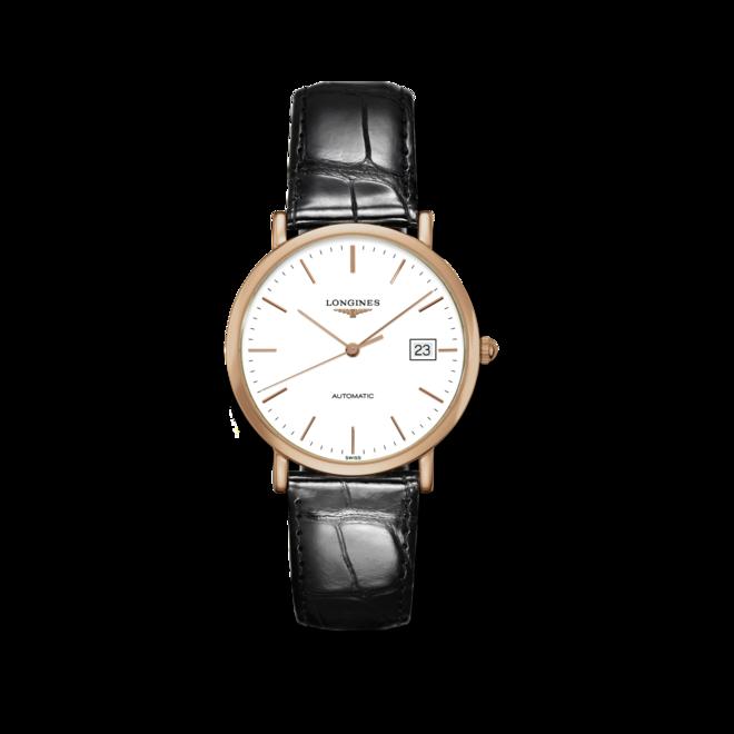 Armbanduhr Longines Elegant Automatik 37mm mit weißem Zifferblatt und Alligatorenleder-Armband bei Brogle