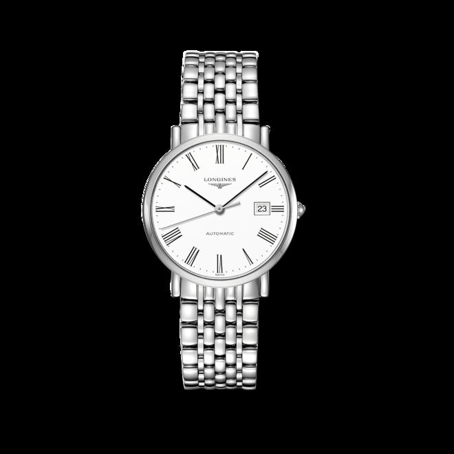 Armbanduhr Longines Elegant Automatik 37mm mit weißem Zifferblatt und Edelstahlarmband bei Brogle