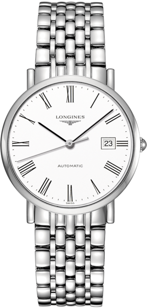 Armbanduhr Longines Elegant Automatik 37mm mit weißem Zifferblatt und Edelstahlarmband