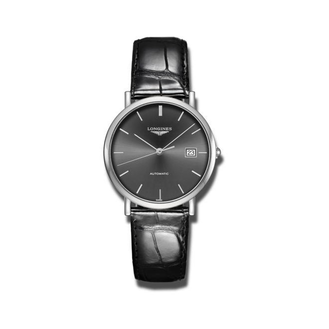 Armbanduhr Longines Elegant Automatik 37mm mit grauem Zifferblatt und Alligatorenleder-Armband bei Brogle