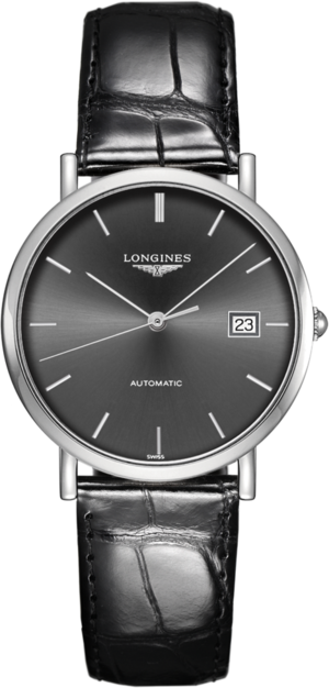 Armbanduhr Longines Elegant Automatik 37mm mit grauem Zifferblatt und Alligatorenleder-Armband