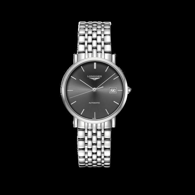Armbanduhr Longines Elegant Automatik 37mm mit grauem Zifferblatt und Edelstahlarmband bei Brogle