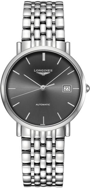 Armbanduhr Longines Elegant Automatik 37mm mit grauem Zifferblatt und Edelstahlarmband