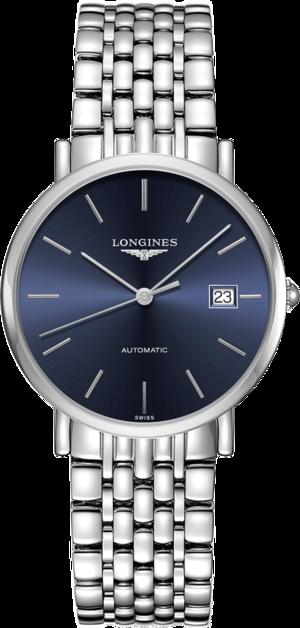 Armbanduhr Longines Elegant Automatik 37mm mit blauem Zifferblatt und Edelstahlarmband