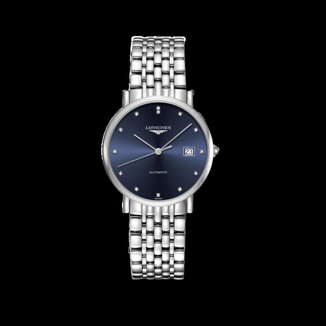 Damenuhr Longines Elegant Automatik 37mm mit Diamanten, silberfarbenem Zifferblatt und Edelstahlarmband bei Brogle