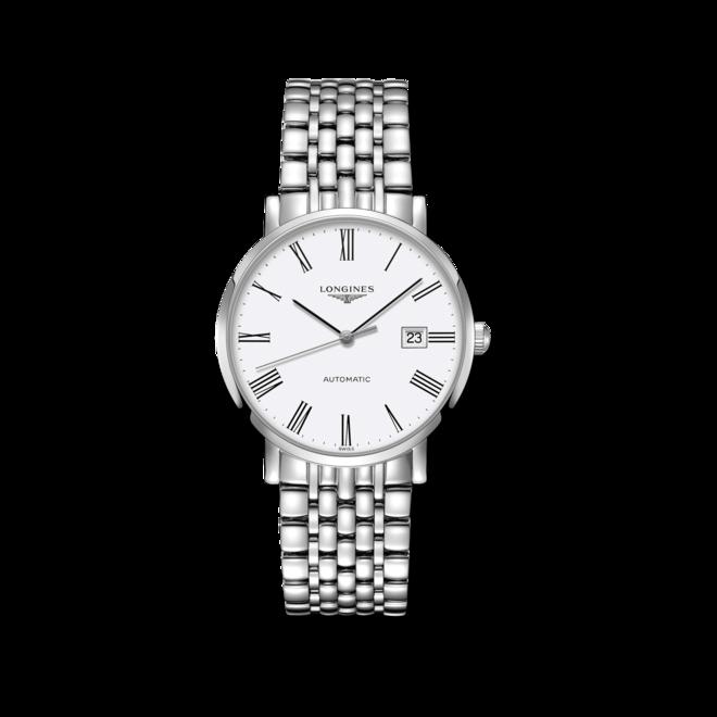 Armbanduhr Longines Elegant Automatik 39mm mit weißem Zifferblatt und Edelstahlarmband bei Brogle