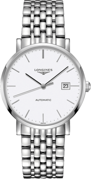 Armbanduhr Longines Elegant Automatik 39mm mit weißem Zifferblatt und Edelstahlarmband